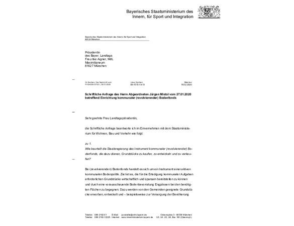 Schriftliche Anfrage  betreffend Einrichtung kommunaler (revolvierender) Bodenfonds